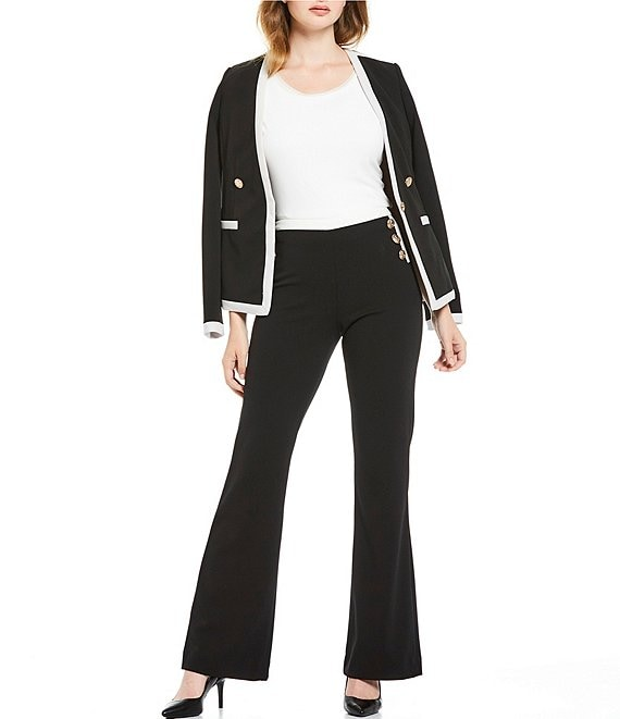Calvin Klein Scuba Crepe Button and Contrast Trim V-Neck Jacket & Wide Leg Contrast Trim Pant