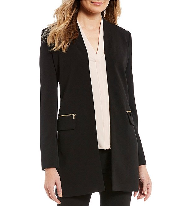 Color:Black - Image 1 - Scuba Crepe Open Front Topper Jacket