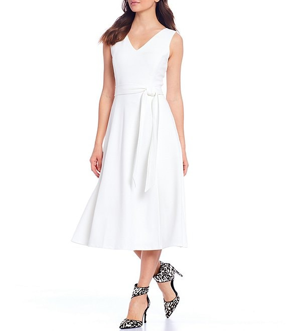 Color:Cream - Image 1 - Scuba Crepe V-Neck Sleeveless Tie Waist Midi Dress