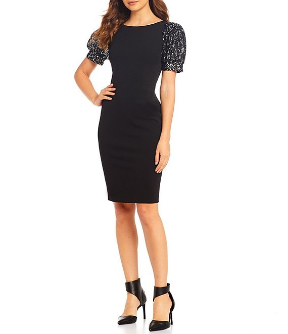 Color:Black/Silver - Image 1 - Scuba Sequin Puff Sleeve Sheath Dress