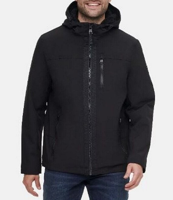 Color:Black - Image 1 - Sherpa Lined Soft-Shell Hooded Jacket