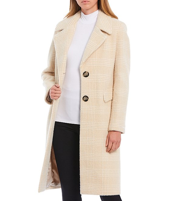 Color:Beige White - Image 1 - Single Breasted Tonal Plaid Wool Blend Walker Coat