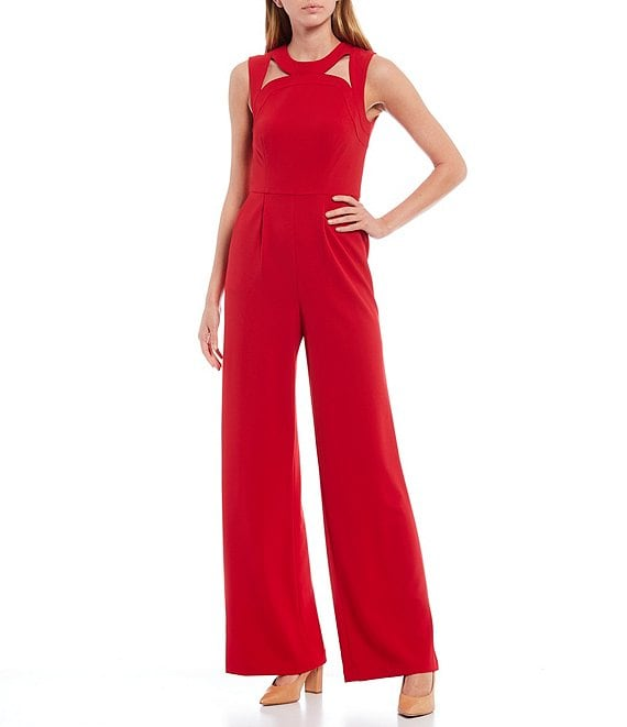 Color:Red - Image 1 - Sleeveless Cut Out Stretch Jumpsuit