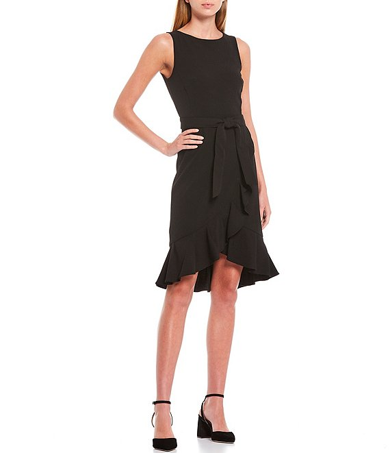 Color:Black - Image 1 - Sleeveless Ruffle Hem Belted Dress