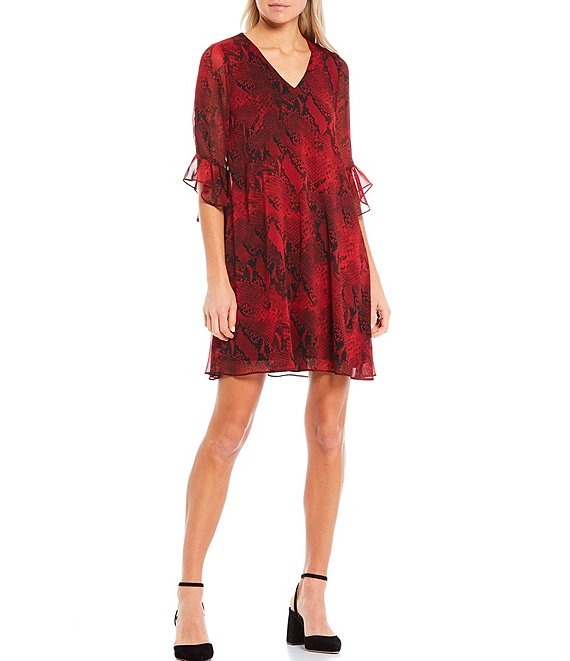 Color:Rouge Multi - Image 1 - Snakeskin Print Crinkle Chiffon Ruffle Sleeve Dress