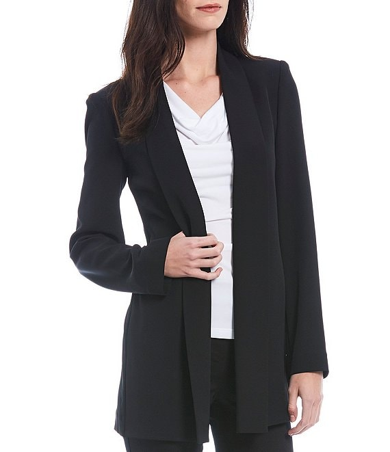 Color:Black - Image 1 - Soft Suiting Stretch Open-Front Jacket