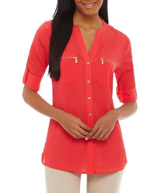 Color:Watermelon - Image 1 - Zip-Pocket Roll Tab Blouse