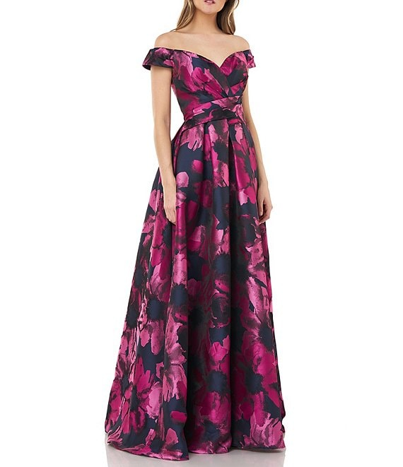 Color:Navy/Fuschia - Image 1 - Off-The-Shoulder Floral Print Jacquard Ball Gown
