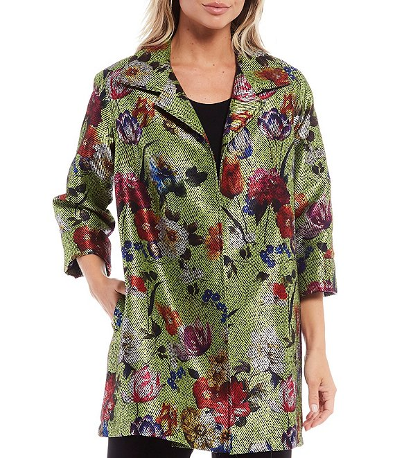 Color:Green Multi - Image 1 - Bold Beautiful Floral 3/4 Sleeve A-Line Open Front Jacket