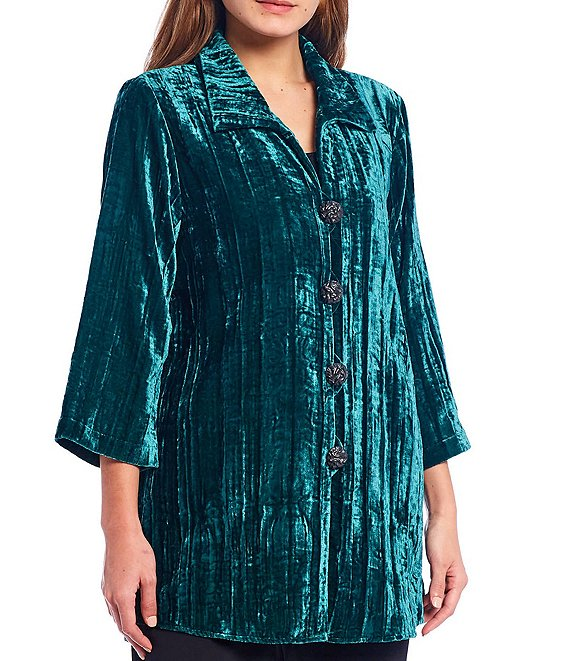 Color:Emerald - Image 1 - Crinkle Velvet Jewel Tone Shirt Jacket