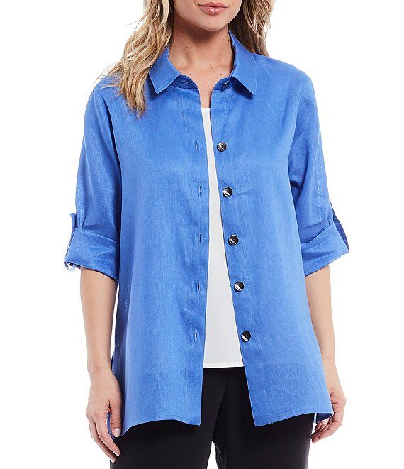Color:Riviera Blue - Image 1 - Tissue Linen Bracelet Sleeve Shirt Jacket