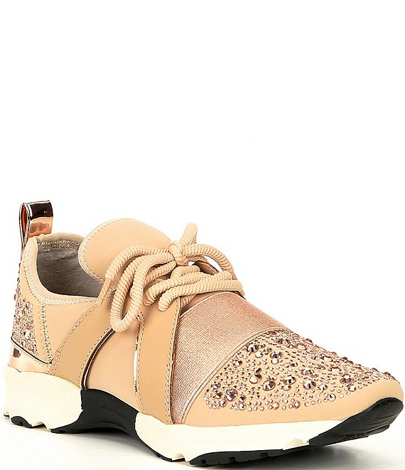 Color:Nude - Image 1 - Lament Bling Embellished Lace-Up Sneakers