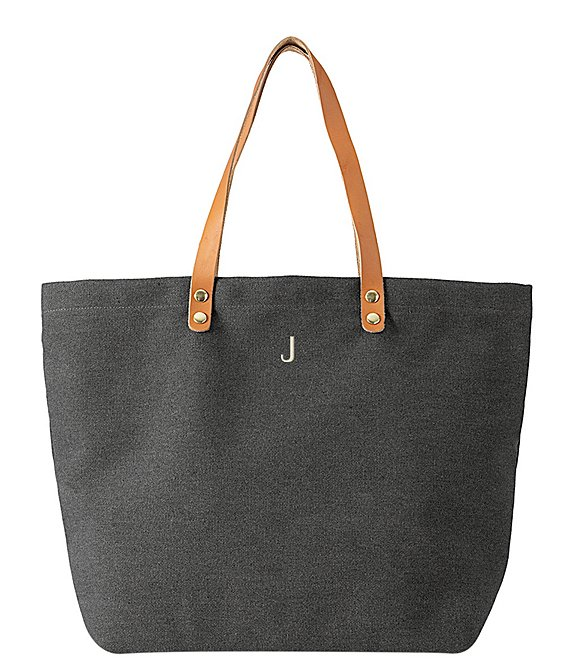 Color:J - Image 1 - Initial Black Canvas Tote Bag With Leather Handles
