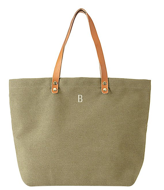Color:B - Image 1 - Initial Green Canvas Tote Bag With Leather Handles