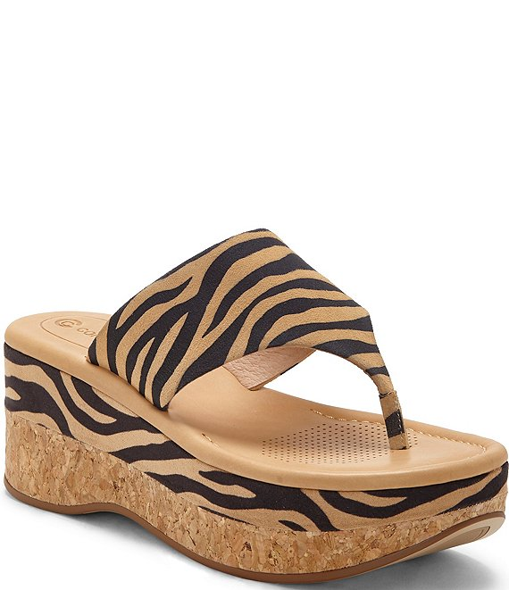 Color:Tan/Black Zebra - Image 1 - Arowin Zebra Print Suede Thong Cork Platform Sandals