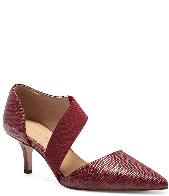 Color:Red lizard - Image 1 - Denice Lizard Embossed Leather Asymmetrical Pumps