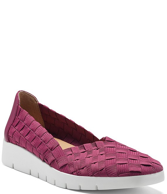 Color:Acai Berry - Image 1 - Illana Woven Elastic Wedge Slip-Ons