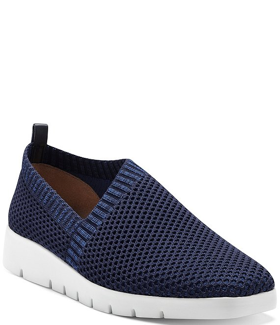 Color:Peacoat - Image 1 - Issani Textured Knit Wedge Slip-Ons