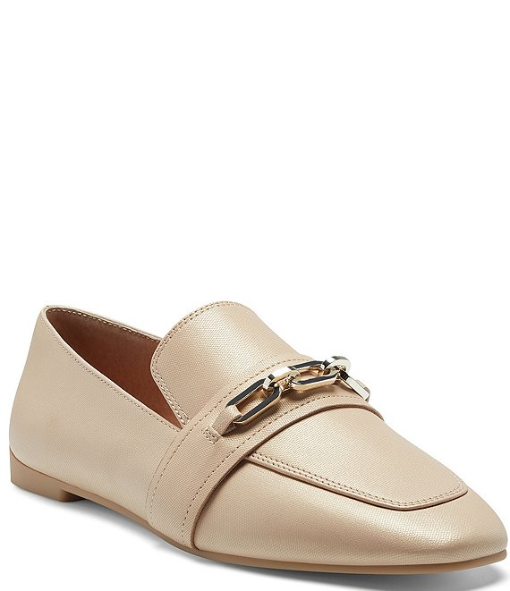 Color:Bisque - Image 1 - Karri Leather Chain Link Detail Loafers
