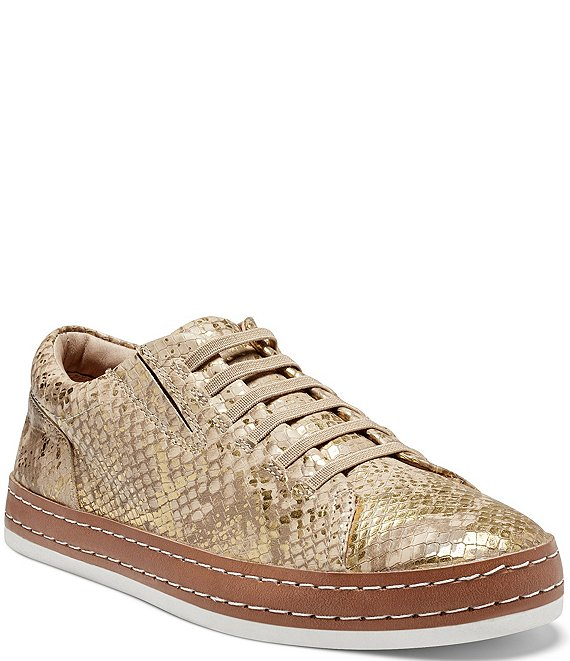 Color:Bisque - Image 1 - Naimie Metallic Snake Print Leather Sneakers