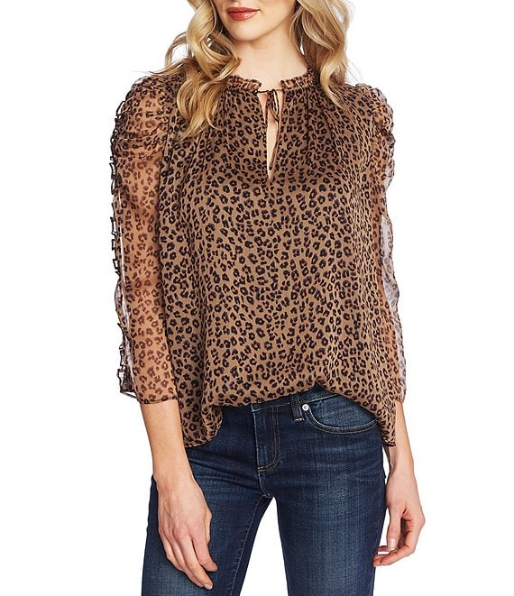 Color:Spicewood - Image 1 - 3/4 Ruffle Sleeve Tie Neck Leopard Print Volume Blouse