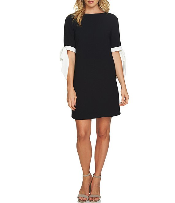 Color:Rich Black - Image 1 - Bow Tie 3/4 Sleeve Shift Dress