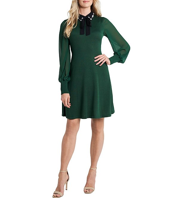Color:Alpine Green - Image 1 - Chiffon Sleeve Peter Pan Collar Bow Detail Sweater Dress