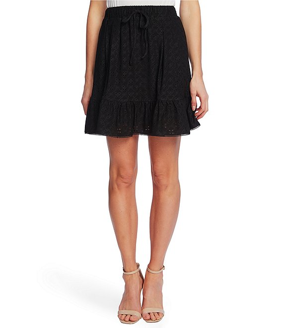 Color:Rich Black - Image 1 - Eyelet Ruffle Hem Knit Pull-On Skirt