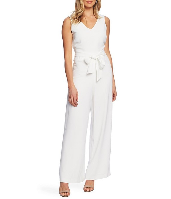 Color:New Ivory - Image 1 - Moss Crepe Wide-Leg Jumpsuit
