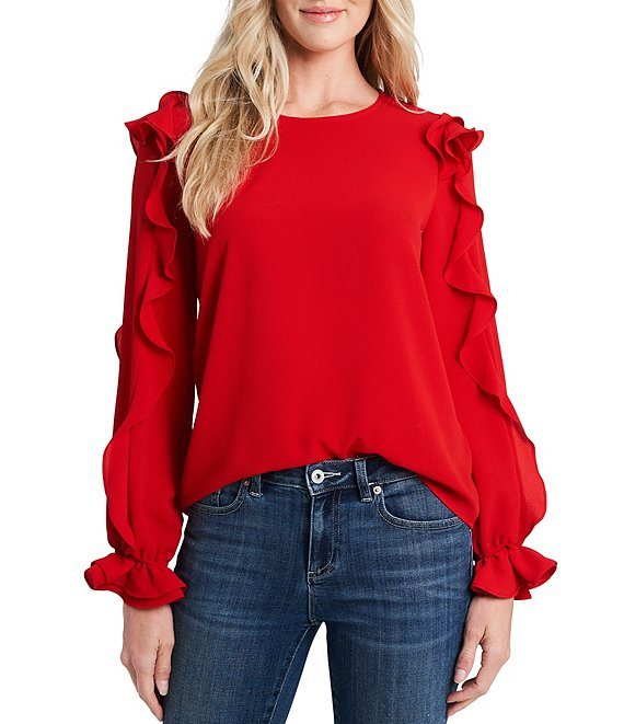 Color:Luminous Red - Image 1 - Ruffled Long Sleeve Round Neck Blouse