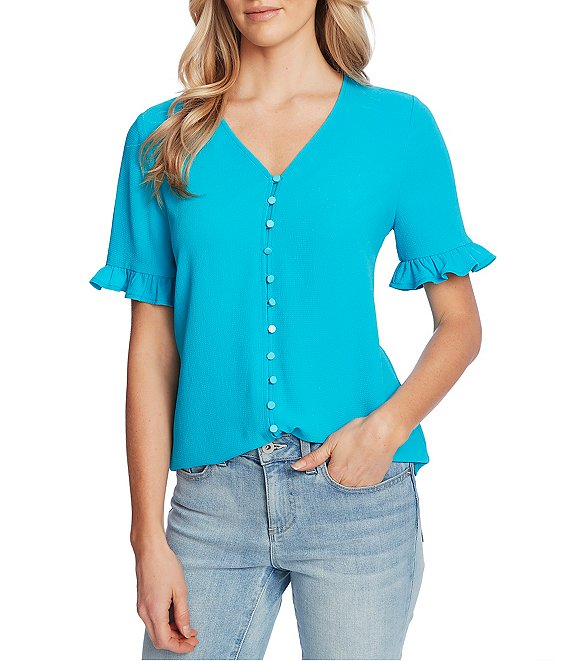 Color:Venice Blue - Image 1 - Ruffled Short Sleeve V-Neck Button Down Blouse