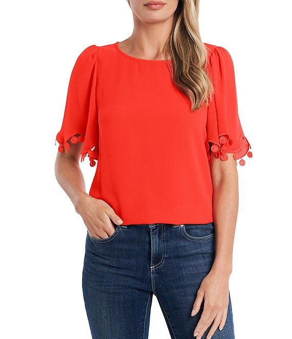 Color:Cherry Rose - Image 1 - Short Flutter Sleeve Lace Trim Blouse