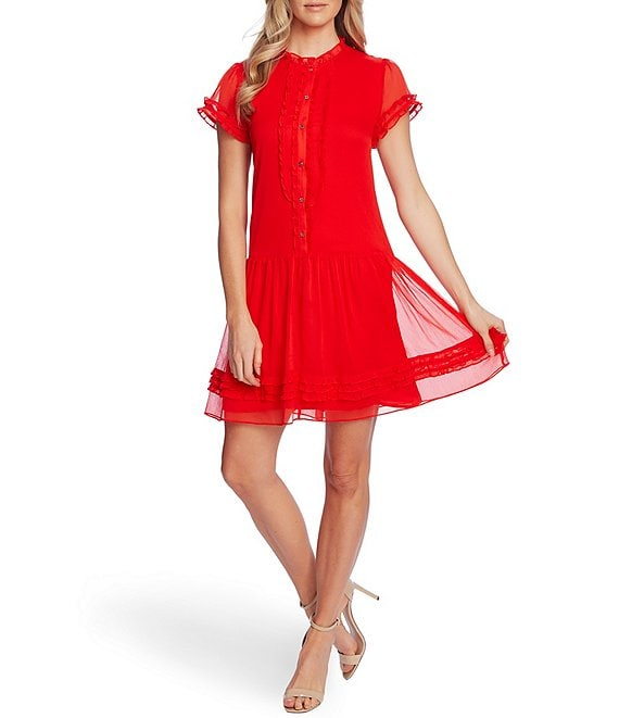Color:Candy Apple - Image 1 - Short Sleeve Drop Waist Ruffled Button Front Dress