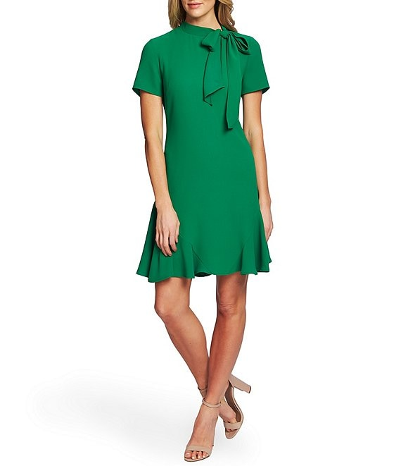 Color:Lush Green - Image 1 - Short Sleeve Tie Neck A-Line Dress