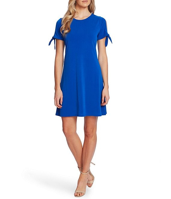 Color:Deep Royal Blue - Image 1 - Short Tie Sleeve Knit Dress
