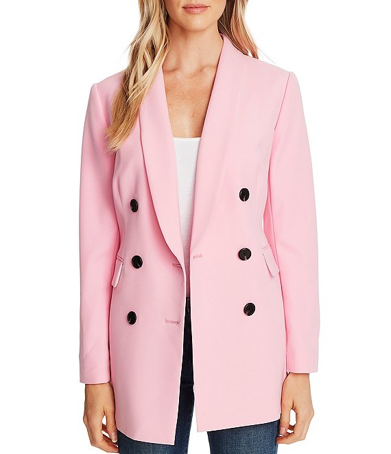 Color:Pink Begonia - Image 1 - Twill Double Breasted Long Sleeve Blazer
