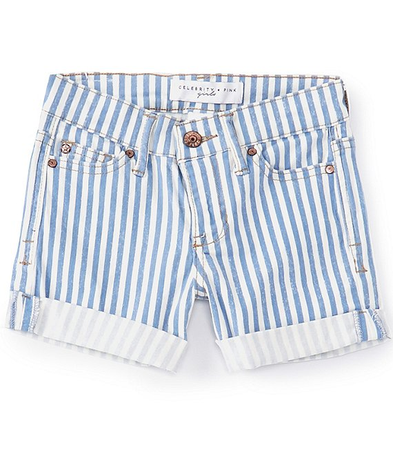 Color:White - Image 1 - Big Girls 7-16 Stripe Soft Twill Shorts