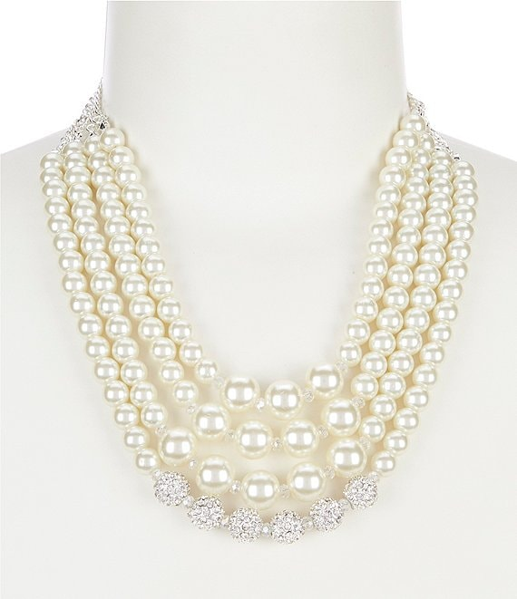 Cezanne Multi Row Pearl and Fireball Necklace