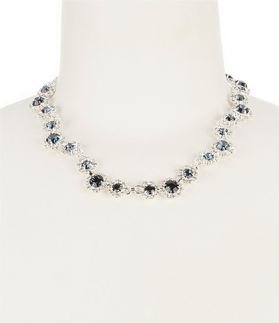 Color:Blue - Image 1 - Rhinestone Daisy Collar Necklace