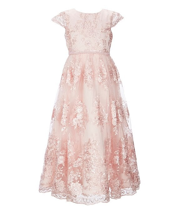 Color:Blush - Image 1 - Big Girls 7-14 Sequin Embroidery A-Line Dress