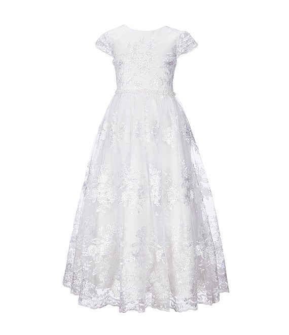 Color:White - Image 1 - Big Girls 7-16 Embroidered Lace Tea-Length Dress