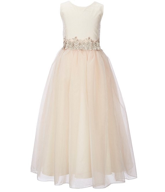 Color:Champagne - Image 1 - Big Girls 7-16 Satin-to-Tulle Sleeveless Dress