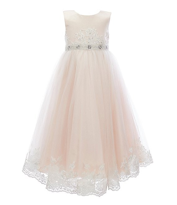 Chantilly Place Little Girls 2t 6x Embroidered Trim Satin Tulle Fit And Flare Ball Gown Dillard S