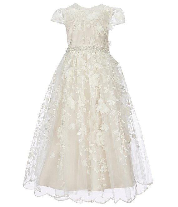 Color:Ivory - Image 1 - Little Girls 4-6X Floral Embroidered Dress