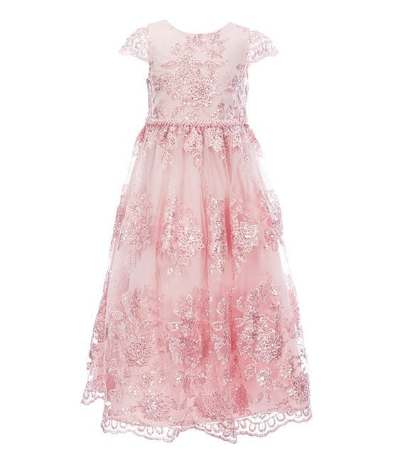Color:Blush - Image 1 - Little Girls 4-6X Sequin Embroidery A-Line Dress