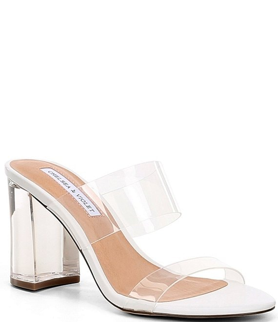 Color:Clear - Image 1 - Amore Clear Lucite Block Heel Sandals