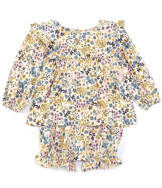 Color:White - Image 1 - Baby Girls 12-24 Months Floral Print Long Sleeve Ruffle Dress Set