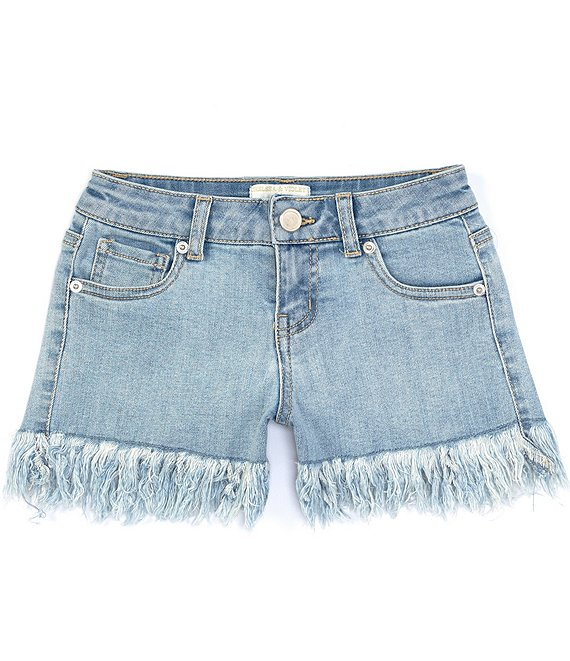 Color:Bleach - Image 1 - Big Girls 7-16 Distressed Fringe-Hem Denim Shorts