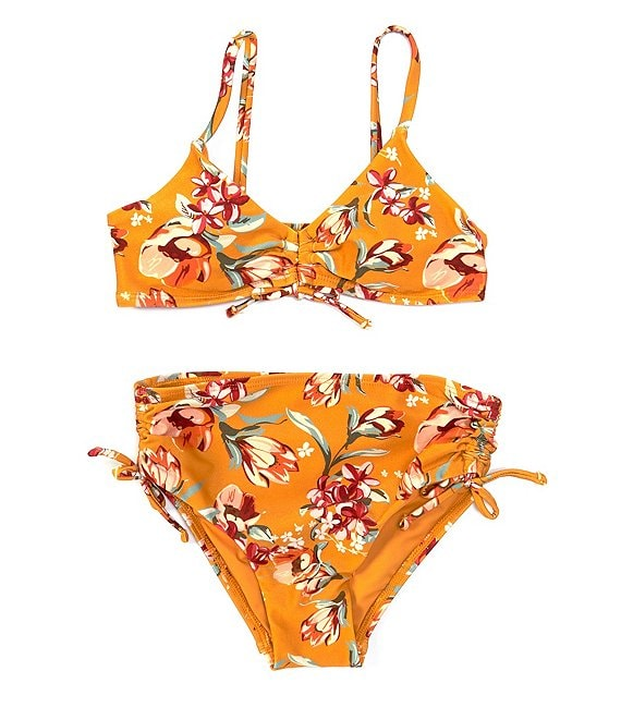 Color:Multi - Image 1 - Big Girls 7-16 Floral Family Matching Cinched High-waist 2-Piece Swimsuit