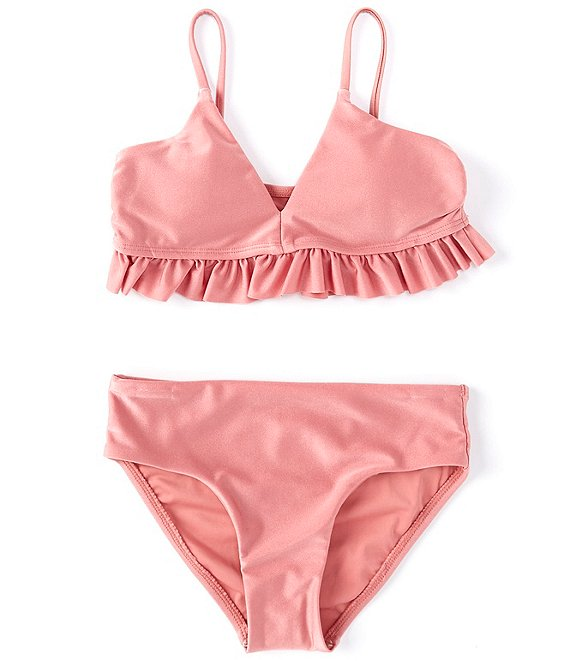 Color:Dusty Rose - Image 1 - Big Girls 7-16 Solid Family Matching Ruffle Two-Piece Swimsuit